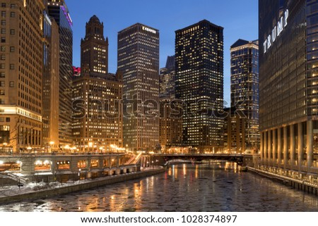 CHICAGO - CIRCA FEBRUARY 2018: Downtown buildings at night