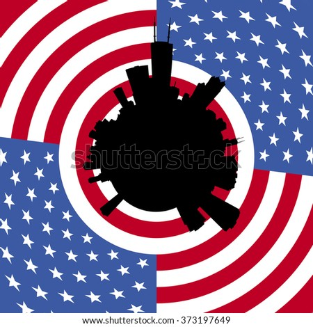 Chicago circular skyline with American flag illustration - stock photo