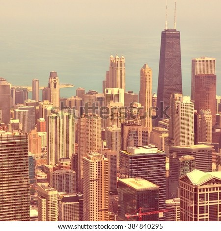 Chicago city. Retro filtered style. - stock photo