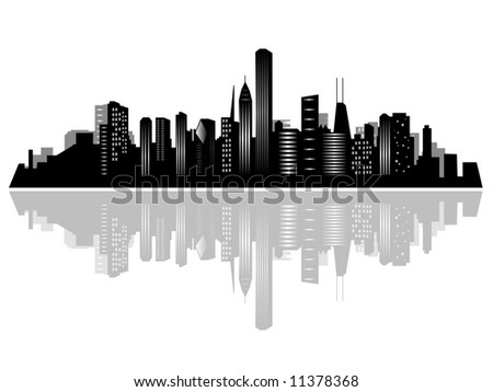 Chicago city skyline and its reflection on water - stock photo
