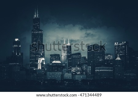 Chicago City Skyline Dark Blue Conceptual Color Grading. Chicago, Illinois, United States. Part of Downtown Skyline.
