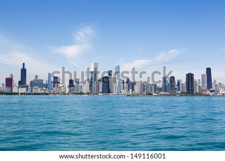Chicago city summertime skyline by the lake - stock photo