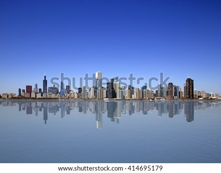 Chicago city view with reflection - stock photo