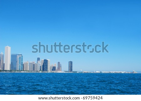 Chicago city viewing far away - stock photo