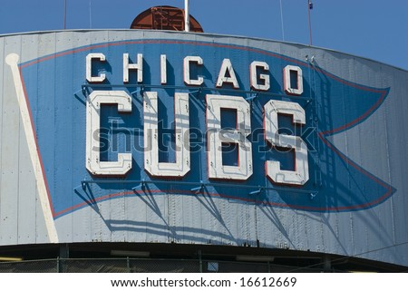 Chicago Cubs sign at Wrigley Field not registered logo - stock photo