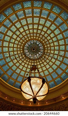 Chicago Cultural Center Dome Ceiling - stock photo