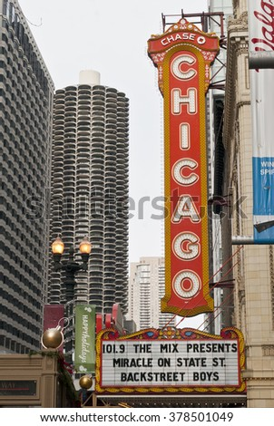 CHICAGO - December 6 2013: The famous Chicago Theater. Editorial - stock photo