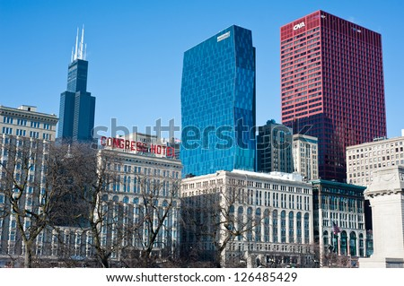 CHICAGO - DECEMBER 11: View of the Chicago skyline focused on Roosevelt University's 32-story Wabash Building on December 11, 2012 in Chicago. - stock photo