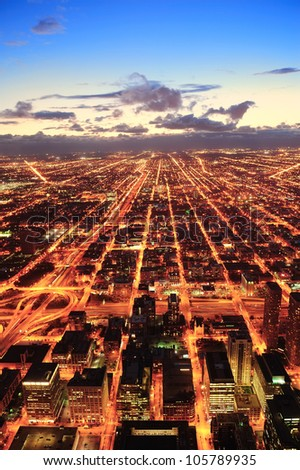 Chicago downtown aerial panorama view at dusk with skyscrapers and city skyline. - stock photo