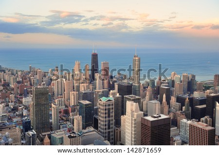 Chicago downtown aerial panorama view at sunset with skyscrapers and city skyline at Michigan lakefront with colorful cloud. - stock photo