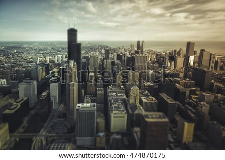 Chicago Downtown- aerial view with desaturated colors. Tilt shift effect