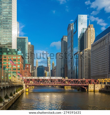 Chicago downtown and Chicago River  - stock photo