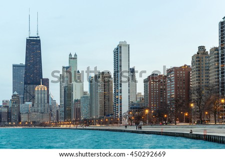 Chicago downtown and Lake Michigan at dusk