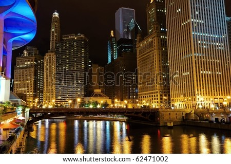 Chicago downtown at night. - stock photo