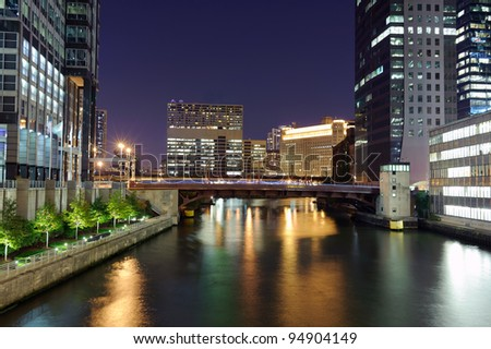 Chicago downtown at night - stock photo