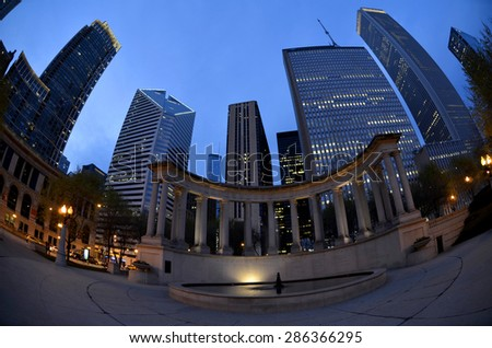 Chicago downtown buildings at night - stock photo