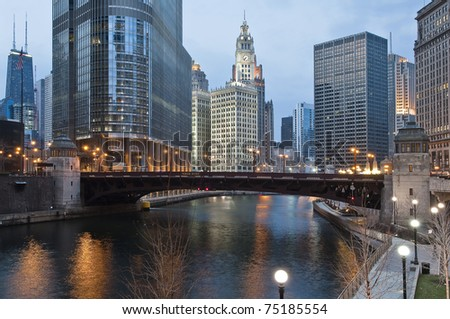 Chicago downtown by the river - stock photo