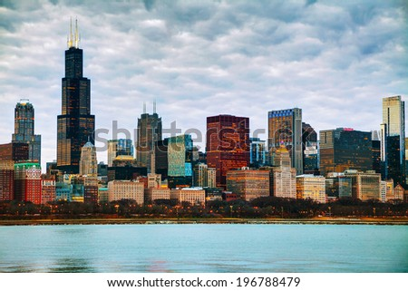 Chicago downtown cityscape in the evening - stock photo