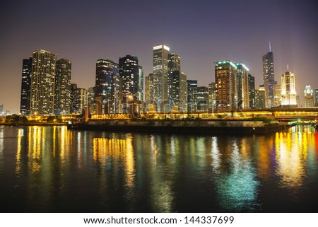Chicago downtown cityscape panorama in the night - stock photo