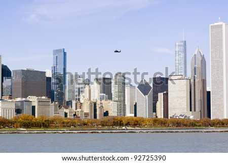 Chicago Downtown in Autumn - stock photo