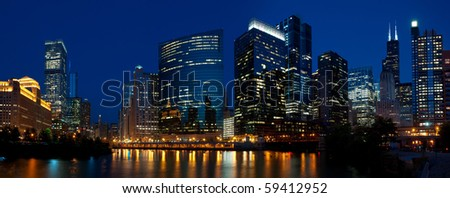 Chicago downtown night panorama. - stock photo