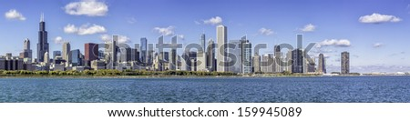Chicago downtown panorama in fall scenery - stock photo