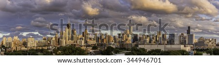 Chicago Downtown panorama with dramatic sky - stock photo