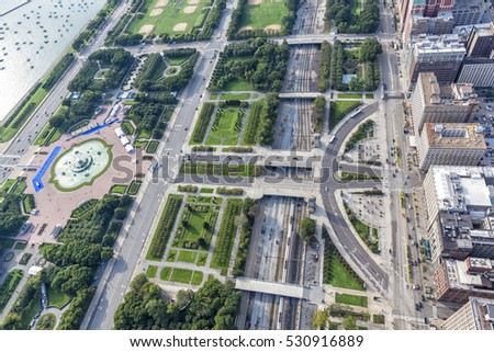 Chicago Downtown Park District, Aerial view, United States