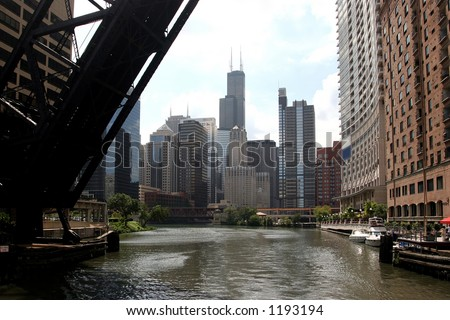 Chicago downtown seen from a riverboat. - stock photo