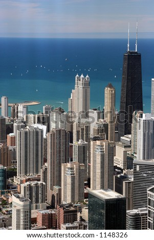 Chicago downtown seen from top floor of Sears Tower (Skydeck). - stock photo
