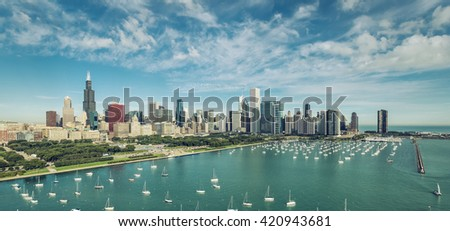 Chicago Downtown Skyline aerial view with boats , vintage colors - stock photo