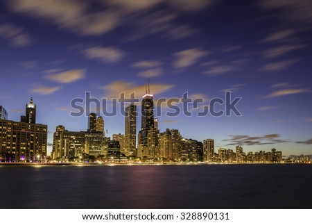 Chicago Downtown skyline at dusk - long exposure - stock photo