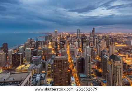 Chicago downtown skyline at night, Illinois - stock photo