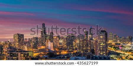 Chicago Downtown Skyline panorama at dusk, scenic sky