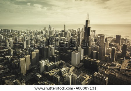 Chicago Downtown Skyscrapers aerial view, vintage colors - stock photo