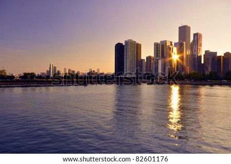 Chicago Downtown Sunset - stock photo