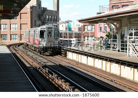 Chicago Elevated Train running to and from the Loop - stock photo