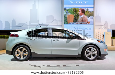 CHICAGO - FEB 9: A 2013 Chevy volt on display at the 2012 Chicago Auto Show Media Preview on February 9, 2012 in Chicago, Illinois. - stock photo