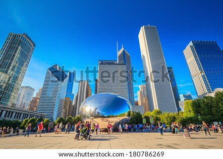 CHICAGO - FEB 19. Millennium Park, Chicago on FEB 19th, 2013. Cloud Gate, also known as the Bean is one of the parks major attractions. Admission is free. - stock photo