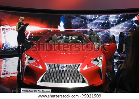 CHICAGO - FEB 12: The Lexus LF-LC on display at the 2012 Chicago Auto Show on February 12, 2012 in Chicago, Illinois. - stock photo