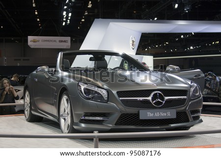 CHICAGO - FEB 12: The New Mercedes SL on display at the 2012 Chicago Auto Show on February 12, 2012 in Chicago, Illinois.