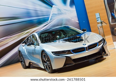 Chicago - February 12: A BMW i8 electric car on display February 12th, 2015 at the 2015 Chicago Auto Show in Chicago, Illinois. - stock photo