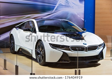 CHICAGO - FEBRUARY 7 : A BMW i8 electric vehicle on display at the Chicago Auto Show media preview February 7, 2014 in Chicago, Illinois. - stock photo
