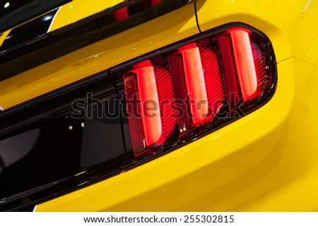 Chicago - February 13: A brake light on Ford Mustang 350GT February 13th, 2015 at the 2015 Chicago Auto Show in Chicago, Illinois. - stock photo