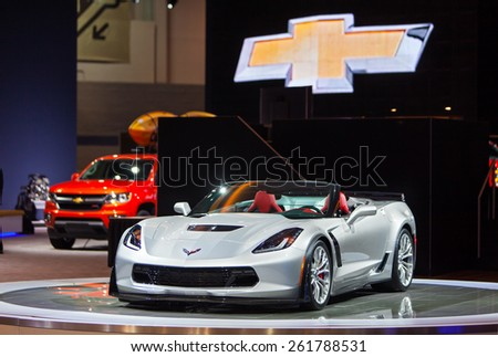 Chicago - February 12: A Chevrolet Corvette convertible on display February 12th, 2015 at the 2015 Chicago Auto Show in Chicago, Illinois. - stock photo