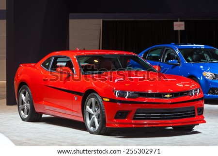 Chicago - February 12: A Chevy Camaro on display February 12th, 2015 at the 2015 Chicago Auto Show in Chicago, Illinois. - stock photo