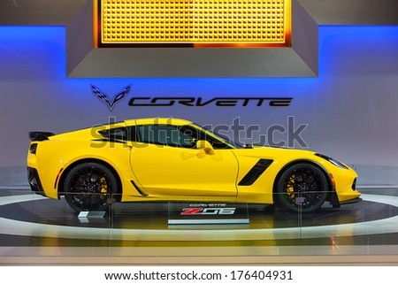 CHICAGO - FEBRUARY 7 : A 2015 Chevy Corvette Z06 on display at the Chicago Auto Show media preview February 7, 2014 in Chicago, Illinois. - stock photo