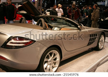 """CHICAGO, FEBRUARY 18, 2009:  A convertible version of the Mercedes-Benz SLR McLaren, your """"Dream Car"""" which produces an amazing 617 horsepower. Displayed at the Auto Show 2009 in Chicago. - stock photo"""