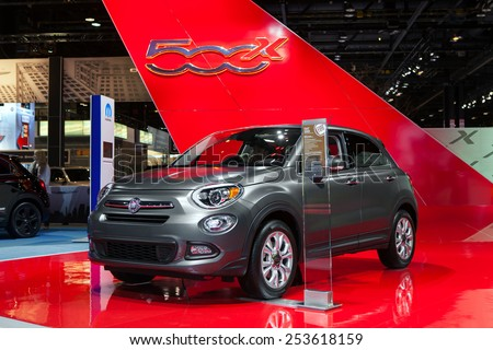 Chicago - February 13: A Fiat 500X on display February 13th, 2015 at the 2015 Chicago Auto Show in Chicago, Illinois. - stock photo