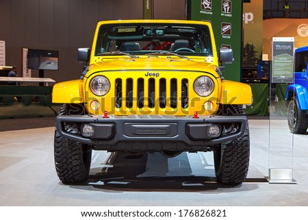 CHICAGO - FEBRUARY 6 : A Jeep Wrangler Rubicon X on display at the Chicago Auto Show media preview February 6, 2014 in Chicago, Illinois. - stock photo